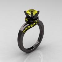 Classic 14K Black Gold 1.0 Ct Yellow Sapphire Designer Solitaire Ring R259-14KBGYS