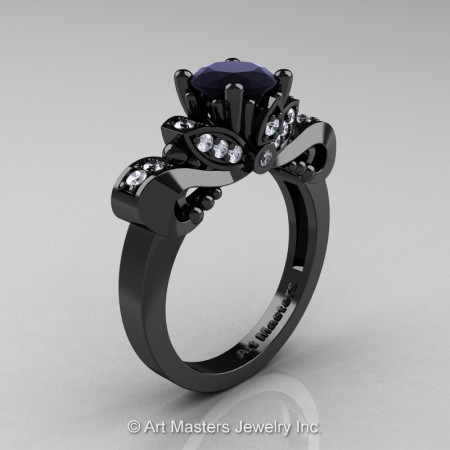 Classic-14K-Black-Gold-1-Carat-Black-White-Diamond-Solitaire-Engagement-Ring-R323-14KBGDBD-P