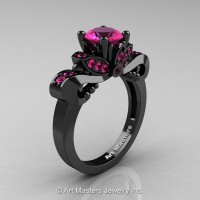 Classic 14K Black Gold 1.0 Ct Pink Sapphire Solitaire Engagement Ring R323-14KBGPS