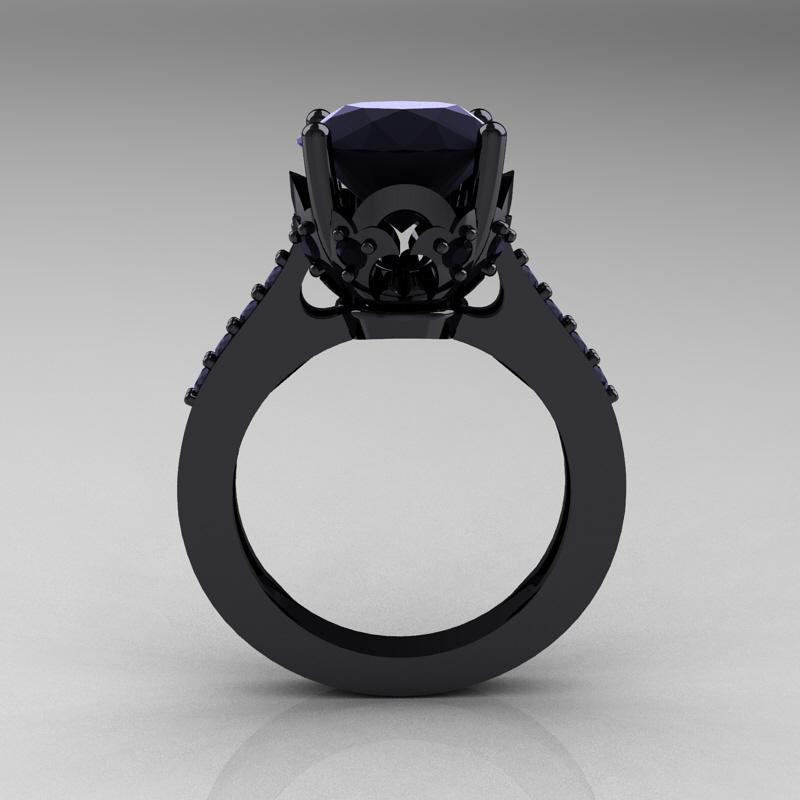 Classic 14K Black Gold 3 0 Carat Black Diamond Solitaire Wedding Ring R301 14