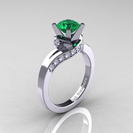 Classic-14K-White-Gold-1-0-Ct-Emerald-Diamond-Designer-Solitaire-Ring-R259WGDEM-P