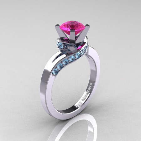 Classic-14K-White-Gold-1-0-Ct-Pink-Sapphire-Blue-Topaz-Designer-Solitaire-Ring-14KWGPSBT-P