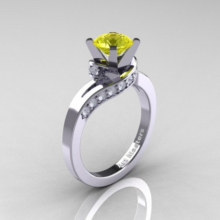 Classic-14K-White-Gold-1-0-Ct-Yellow Sapphire-Diamond-Designer-Solitaire-Ring-R259WGDYS-P