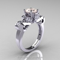 Classic 14K White Gold 1.0 Ct Morganite Diamond Solitaire Engagement Ring R323-14KWGDMO