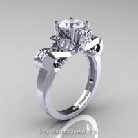 Classic 950 Platinum 1.0 Ct White Sapphire Diamond Solitaire Engagement Ring R323-PLATDWS