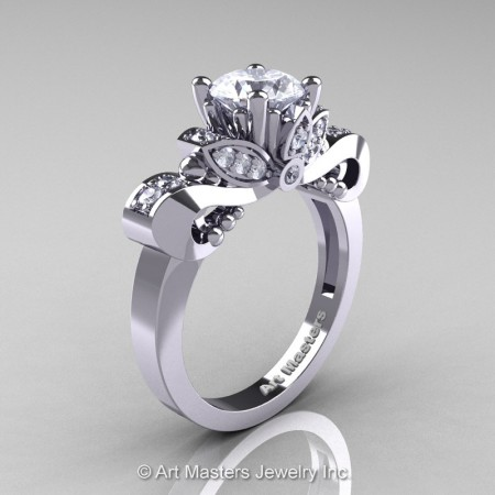 Classic-14K-White-Gold-1-Carat-White-Sapphire-Diamond-Solitaire-Engagement-Ring-R323-14KWGDWS-P