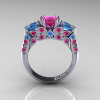 Classic-14K-White-Gold-Three-Stone-Princess-Pink-Sapphire-Blue-Topaz-Diamond-Ring-R500-WGBTPS-F