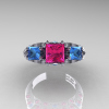 Classic-14K-White-Gold-Three-Stone-Princess-Pink-Sapphire-Blue-Topaz-Diamond-Ring-R500-WGBTPS-T