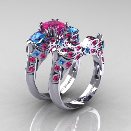 Classic-14K-White-Gold-Three-Stone-Princess-Pink-Sapphire-Blue-Topaz-Diamond-Ring-Wedding-Band-Set-R500S-WGBTPS-P