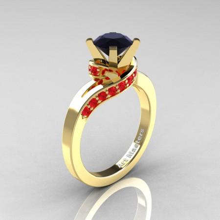 Classic-14K-Yellow-Gold-1-0-Ct-Black-Diamond-Rubies-Designer-Solitaire-Ring-14KYGRBD-P