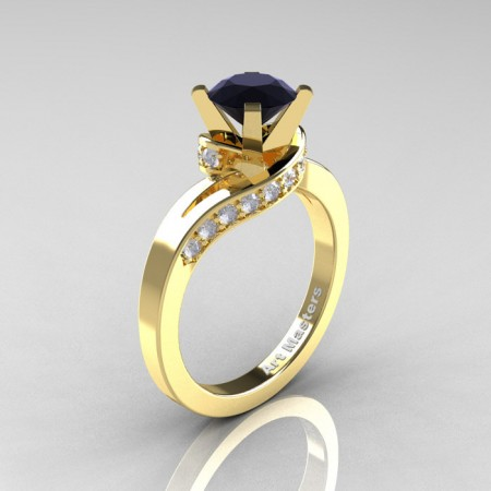 Classic-14K-Yellow-Gold-1-0-Ct-Black-and-White-Diamond-Designer-Solitaire-Ring-14KYGDBD-P
