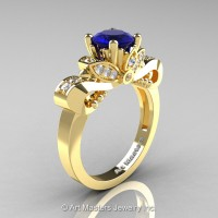 Classic 14K Yellow Gold 1.0 Ct Blue Sapphire Diamond Solitaire Engagement Ring R323-14KYGDBS