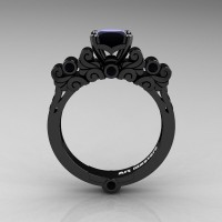 Classic Armenian 14K Black Gold 1.0 Ct Black Diamond Solitaire Wedding Ring R608-14KBGBD