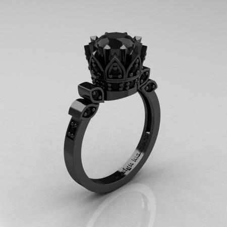 Classic-Armenian-Black-Gold-1-0-Carat-Black-Diamond-Solitaire-Ring-R405-BGBDD-P
