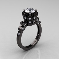 Exclusive Classic Armenian 14K Black Gold 1.0 White Sapphire Diamond Bridal Solitaire Ring R405-14KBGDWS