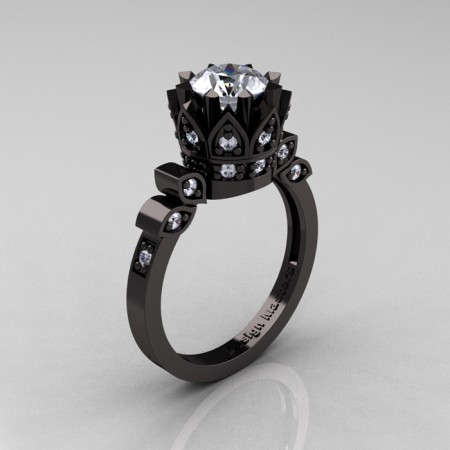Classic-Armenian-Black-Gold-1-0-Carat-Cubic-Zirconia-Diamond-Solitaire-Ring-R405-BGDCZ-P