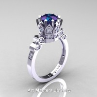 Classic Armenian 14K White Gold 2.0 Ct Alexandrite Diamond Crown Solitaire Ring R405-14KWGD2AL