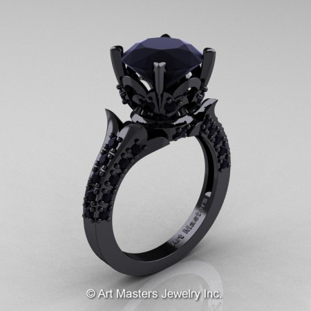 Classic-French-14K-Black-Gold-Black-Diamond-Solitaire-Ring-R401-14KBGBD-P
