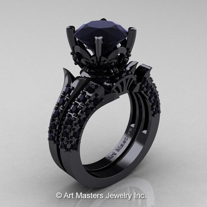 Classic French 14K Black Gold 30 Ct Black Diamond Solitaire Wedding Ring Wedding Band Bridal