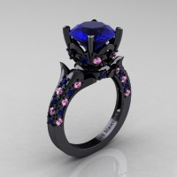 Exclusive French 14K Black Gold 3.0 Ct Blue and Light Pink Sapphire Solitaire Wedding Ring R401-14KBGLPSBS