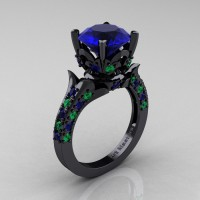 Exclusive French 14K Black Gold 3.0 Ct Blue Sapphire Emerald Solitaire Wedding Ring R401-14KBGEMBS