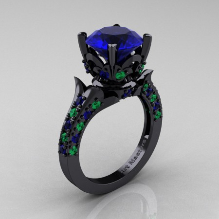 Classic-French-14K-Black-Gold-Blue-Sapphire-Emerald-Solitaire-Wedding-Ring-R401-BGEMBS-P