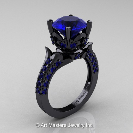Classic-French-14K-Black-Gold-Blue-Sapphire-Solitaire-Wedding-Ring-R401-BGBS-P
