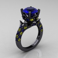 Exclusive French 14K Black Gold 3.0 Ct Blue and Yellow Sapphire Solitaire Wedding Ring R401-14KBGYSBS