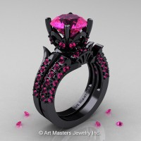 14K Black Gold French Vintage 3.0 Ct Pink Sapphire Solitaire and Wedding Ring Bridal Set R401S-14KBGPS