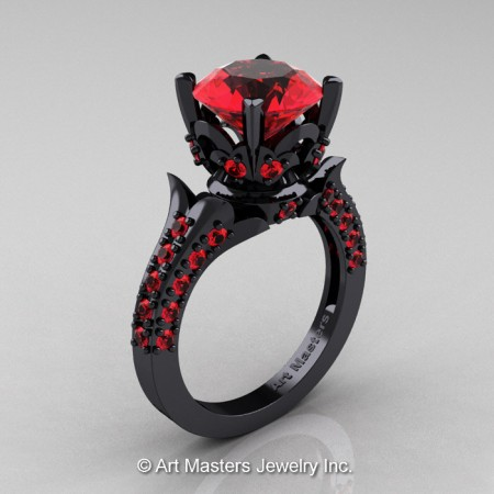 Classic-French-14K-Black-Gold-Rubies-Solitaire-Wedding-Ring-R401-BGR-P