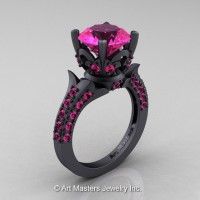 French 14K Matte Black Gold 3.0 Ct Pink Sapphire Solitaire Wedding Ring R401-14KGBGPS