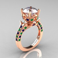 Exclusive 14K Rose Gold 3.0 Carat White and Blue Sapphire Emerald Solitaire Ring R401-14KRGEMBSWS
