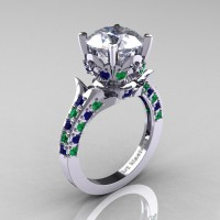 Exclusive 14K White Gold 3.0 Carat White and Blue Sapphire Emerald Solitaire Ring R401-14KWGEMBSWS