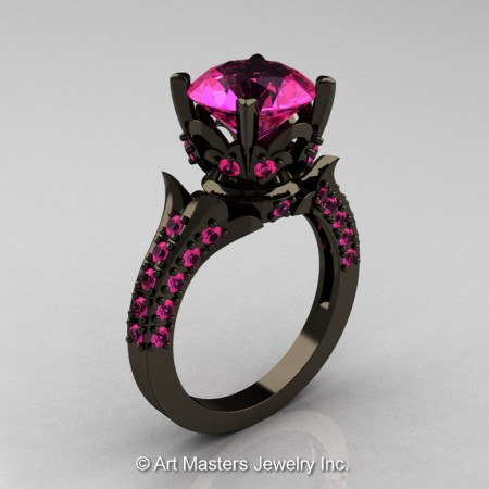 Classic-French-Black-Gold-Pink-Sapphire-Solitaire-Wedding-Ring-R401-BGPS-P