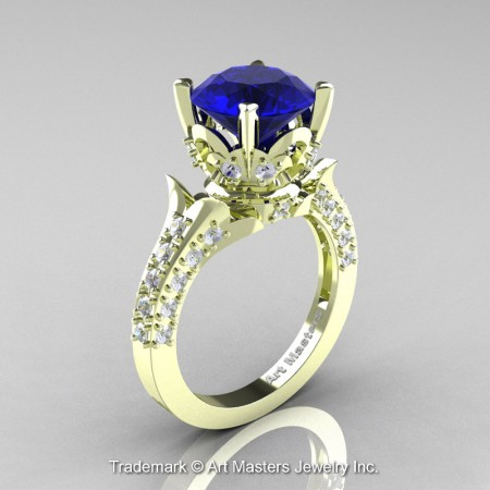 Classic-French-Green-Gold-Blue-Sapphire-Diamond-Solitaire-Wedding-Ring-R401-GGDBS-P