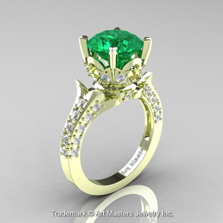Classic-French-Green-Gold-Emerald-Diamond-Solitaire-Wedding-Ring-R401-GGDEM-P