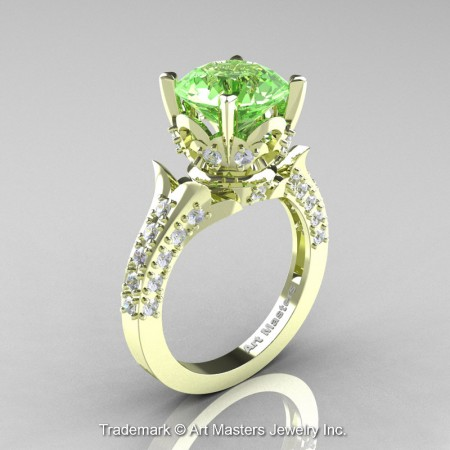 Classic-French-Green-Gold-Emerald-Diamond-Solitaire-Wedding-Ring-R401-GGDGT-P