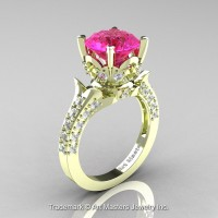 Classic French 14K Green Gold 3.0 Ct Pink Sapphire Diamond Solitaire Wedding Ring R401-14KGRGDPS