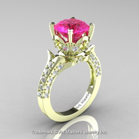 Classic-French-Green-Gold-Pink-Sapphire-Diamond-Solitaire-Wedding-Ring-R401-GGDPS-P