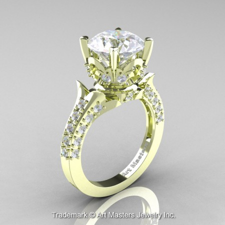 Classic-French-Green-Gold-White-Sapphire-Diamond-Solitaire-Wedding-Ring-R401-GGDWS-P