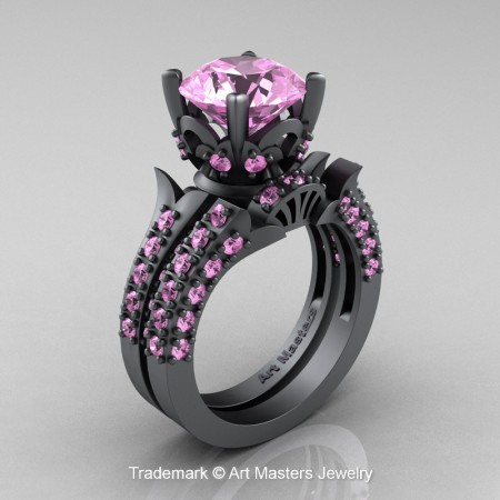 Classic-French-Grey-Gold-Light-Pink-Sapphire-Solitaire-Wedding-Ring-Set-R401S-GGLPS-P