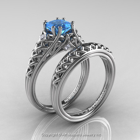 Classic French 14K White Gold 1.0 Ct Princess Blue Topaz Diamond Lace Engagement Ring Wedding Band Set R175PS-14KWGDBT