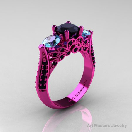 Classic-Pink-Gold-Three-Stone-Black-Diamond-Aqumarine-Solitaire-Engagement-Ring-R200-14KPGAQBD-P