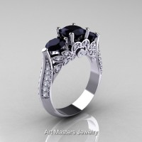Classic 18K White Gold Three Stone Black and White Diamond Solitaire Ring R200-18KWGDBD