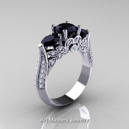 Classic-Three-Stone-Black-Diamond-Engagement-Ring-R200-WGDBD-P