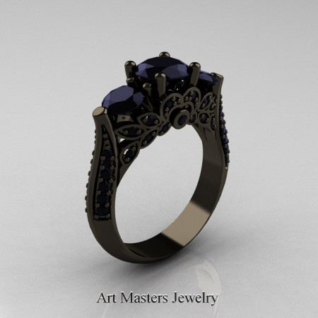 Classic-Three-Stone-Black-Gold-Diamond-Engagement-Ring-R200-BGBD-P