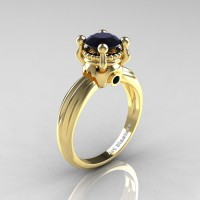 Classic Victorian 14K Yellow Gold 1.0 Ct Black Diamond Solitaire Engagement Ring R506-14KYGBD