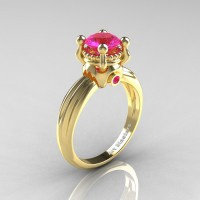 Classic Victorian 14K Yellow Gold 1.0 Ct Pink Sapphire Solitaire Engagement Ring R506-14KYGPS