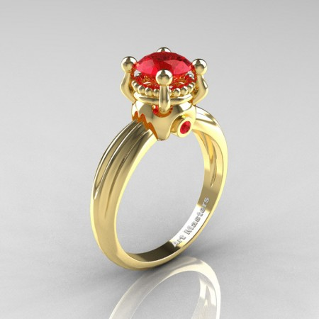 Classic Victorian 14K Yellow Gold 1.0 Ct Rubies Solitaire Engagement Ring R506-14KYGR