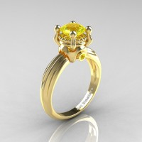 Classic Victorian 14K Yellow Gold 1.0 Ct Yellow Sapphire Solitaire Engagement Ring R506-14KYGYS